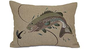 Brentwood Originals 8481 Jumping Bass Tapestry Pillow, 13-Inch by 18-Inch