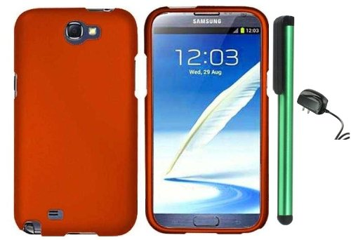 Best  Metallic Orange Design Protector Hard Cover Case for Samsung Galaxy Note II N7100 (AT&T, Verizon, T-Mobile, Sprint, U.S. Cellular) Android Smart Phone + Luxmo Brand Travel (Wall) Charger + Combination 1 of New Metal Stylus Touch Screen Pen (4