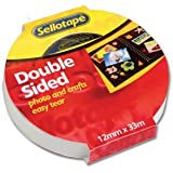 Sellotape double sided clear sticky tape 12mm x 33m - 1 single roll