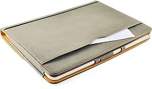 JAMMYLIZARD | Smart Case Ledertasche für Samsung Galaxy Note 10.1 2012 (1. Generation), GRAU & HONIG