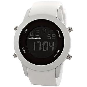 Breda Men's Metal Digital Silicone Watch White 8215-D