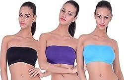 PIFTIF Women's Strapless Non-Padded Bra (PURPLE_SKY_BLACK__Small)