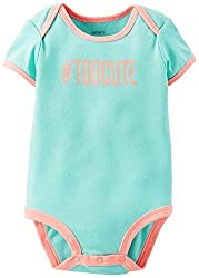 Carters Baby Girls Too Cute Bodysuit 3 Month Mint/coral