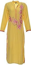 Kurtiz & More Women's Viscose Kurti (778615_8, Yellow, L)