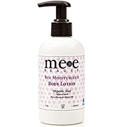 Best Dry Skin Moisturizer - Daily Body Lotion By Mee Beauty - Aloe, Coconut Oil & Honey - Use After Bath or At Bed, Works Great for Women and Men - Paraben & Fragrance Free - 8 Oz
