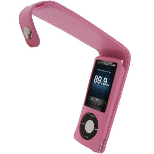 igadgitz PU Leder Tasche Schutzhülle Etui Case Hülle aufklappbar in Pink Rosa für Apple iPod Nano 5G 5.Gen Generation (mit Videokamera) 8gb, 16gb + abnehmbare Karabinerhaken