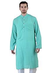 Rivayah Men Cotton Kurta Light Green
