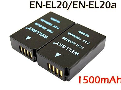 WELLSKY『2個セット』 ニコン Nikon EN-EL20 / EN-EL20a 互換バッテリー 純正充電器で充電可能 残量表示可能 Nikon 1 J1/J2/J3/S1/AW1/V3