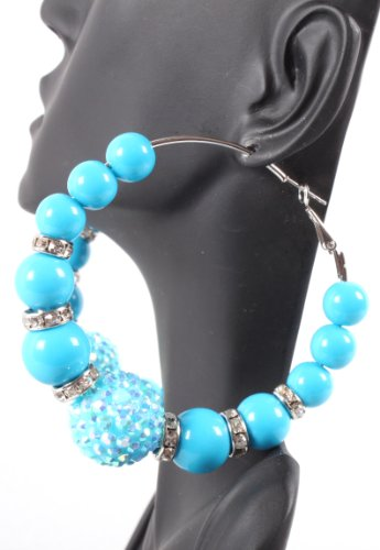 Blue Iced Out Disco Ball Lady Gaga Poparazzi Loop Basketball Wives Earrings