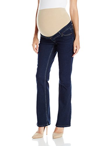 Three Seasons Maternity Women's Denim Flare Jean with Natural Bellie Band, Dark Wash, Medium