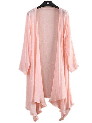 【ユベスト】 Ubest レディース カーディガン 羽織り 薄手 UV対策 日焼け防止 綿麻 麻 綿混 7分袖 ロング丈80CM 薄手 7色選べる (ピンク)