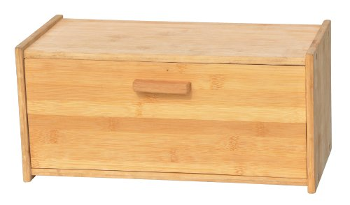 KitchInspirations Elegant Square Style Natural Bamboo Bread Box