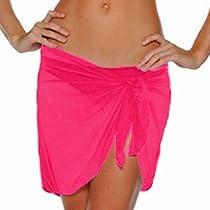 Luxury Divas Fuchsia Hot Pink Semi Sheer Short Sarong Bathing Wrap