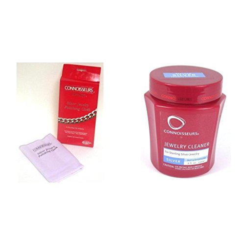 Connoisseurs Silver Jewelry Polishing Cloth & Cleaning Solution Kit 2 Pcs