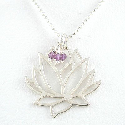 Large Open Design Lotus Flower Pendant in Sterling Silver with Amethyst Gemstone Beads on a 24