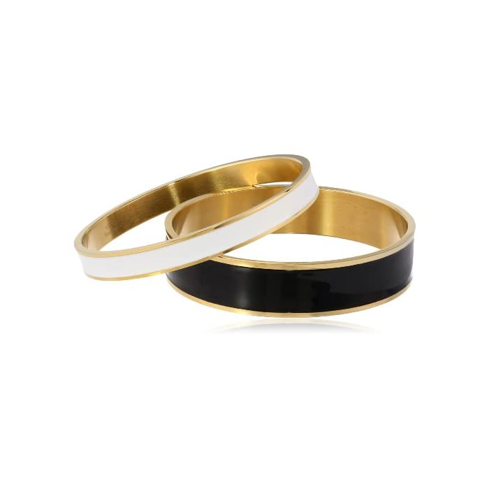 Goldtone Enamel Black and White Bangle Bracelet Set; 2.75