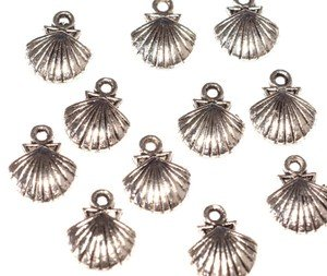 10 x Antique Silver Shell Charms with Jump Rings included for attachments. Universal use for Jewellery Making & Card Making