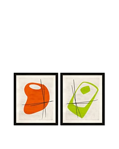 Soicher Marin Set of 2 Classy Retro Mod Giclée Reproductions, Orange/Green