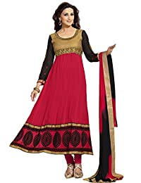 Zohraa Sonali Bendre Suits-Red And Black Faux Georgette Anarkali Suit VivaSonali31024