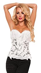 Starline Women's Victorian Dreams Floral Waist Cincher Bustier Corset, White/Black, Small