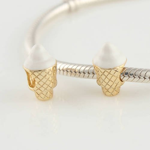 General Gifts Icecream Cone 18k Gold Plated 925 Sterling Silver Charm Beads for Pandora, Biagi, Chamilia, Troll and More Bracelets