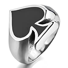 buy Bishilin Men'S Stainless Steel Silver Black Ace Of Spades Poker Card Rings Size 8