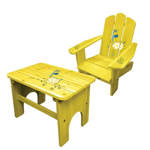 Cheap Lohasrus Kids Adirondack Chairs CC-14004 & Kids End Table CC-14010, for Kids 2~5 years, Free Drawing Book (CC-14004 & 14010)