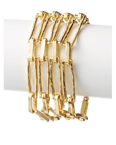 Karine Sultan Matte Gold Statement Bracelet Featuring Four Rows of Rectangular Chain Link