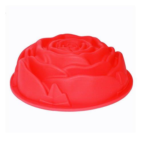 DIY 3D Rose Fleur en silicone alimentaire gradede 22,9cm Poêle Moule à gâteau Sugarcraft Fondant Gâteau d'anniversaire cuisson moule Maker couleur aléatoire [1pc]