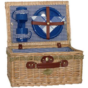 Sutherland Jubilee Picnic Basket for 2 - SP318-Blue & White by SUTHERLAND BASKETS