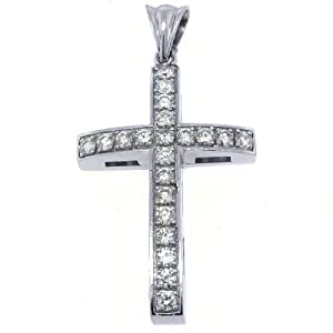 14k White Gold Round Diamond Cross Pendant 2.58 Carats