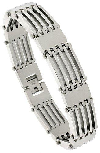 Gent's Stainless Steel Bar Bracelet, 5/8 inch wide, 8 1/2 inch long