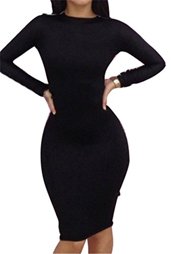Qiyun White Black Color Blocks Women'S Long Sleeves Backless Sexy Clubwear Dress S-L
