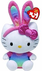 TY 41017-Hello Kitty Beanie Babies Baby Rabbit Ears, easter, 15cm, rainbow by TY