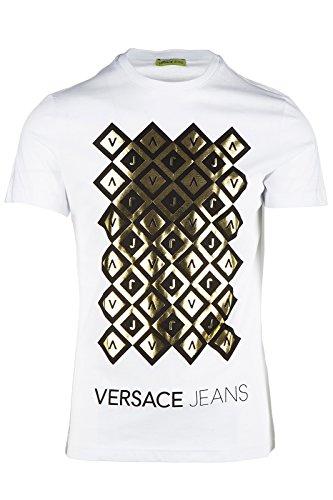 Versace Jeans t-shirt maglia maniche corte girocollo uomo pluto slim bianco EU M (UK 38) B3GOB716 PRINT12