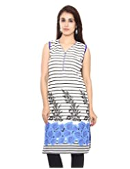 Kurti Studio Womens Excellent Blue Printed Cotton Rayon Kurti