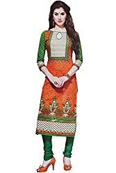 Majaajan Women's Cotton Self Print Unstitched Salwar Suit Ethnic Dress Material (PRT1905, Orange and Green, Freesize)