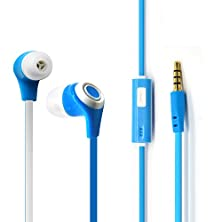 buy Eberry® Gold-Plated 3.5Mm Premium Earphone With Mic Stereo Control Headphone Fashionable Musical Earbuds Colorful Noodle Cable In-Ear Headphone For Iphone, Ipod, Ipad, Android Smartphone And Mp3/4 Player, Pc And More (Blue)