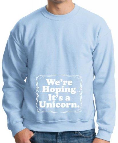 We'Re Hoping It'S A Unicorn Maternity Themed Premium Crewneck Sweatshirt Small Light Blue front-645424