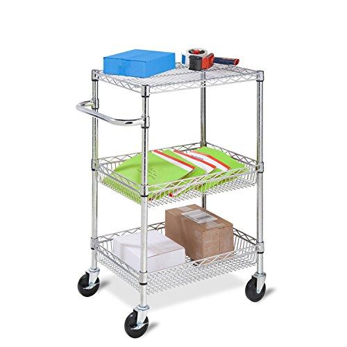 Honey-Can-Do CRT-01451 Heavy Duty Urban Rolling Cart, 3-Tier
