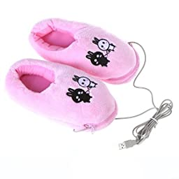 TOOGOO(R)Cute USB Foot winter Warmer Shoes Electric Heat Slipper for Women Men (Rabbits, Pink)