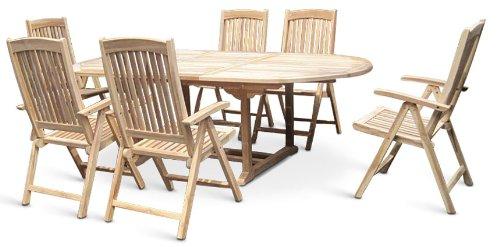 XXS® Gartengruppe Aruba aus Teak-Holz, 7 teilig, Garten-Tisch mit Schirmloch und 6 x Hochlehner Solo Klapp-Stuhl, Terrassen-Möbel aus Massiv-Holz, Gartenmöbel Oberfläche geschliffen