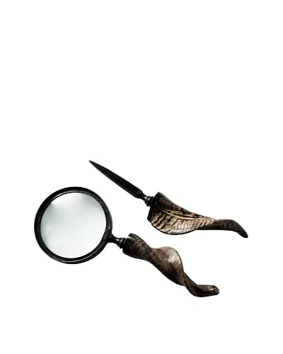 Foreign Affairs Goat Horn Handle Magnifying Glass & Letter Opener