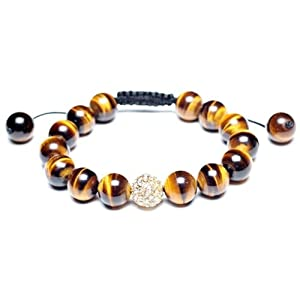 Bling Jewelry Shamballa Inspired Bracelet Tiger Eye Beads Golden Crystal Ball 12mm