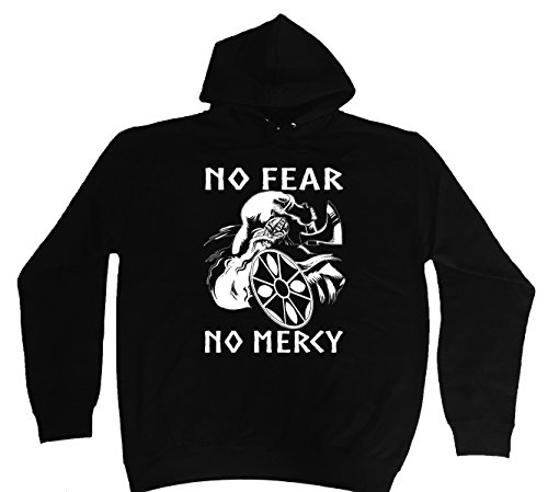 "'Hoodie-Felpa con cappuccio ""No Fear, No Mercy Viking M-5X L nero XXXL"