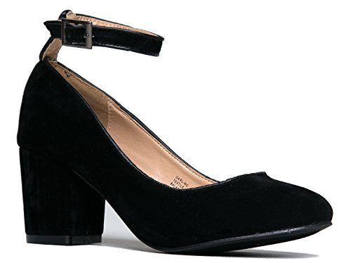Low Ankle Strap Pump - Block Heel - Round Toe Dress Shoe - Comfortable Strappy - Darling by J. Adams