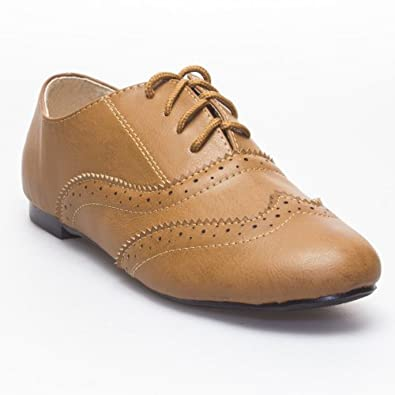 IYNX Womens GINAxford Flat Shoes, Tan Light Brown PU Leather, 7 B (M) US