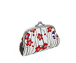 Japanese Gamaguchi Wallet Traditional Purse Silk crepe with the total pattern Cherry tree [japanimport]