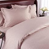 Royal Hotel's Striped Pink 300-Thread-Count 3pc Queen Duvet-Cover 100-Percent Egyptian Cotton, Sateen Striped, 100% Cotton