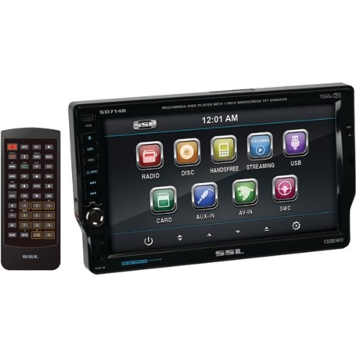 SSL SD714B In-Dash Single-Din 7-inch Motorized Detachable Touchscreen DVD/CD/USB/SD/MP4/MP3 Player Receiver Bluetooth Streaming Bluetooth Hands-free with Remote